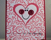 Handmade Valentine Card Cute Heart Shaped Face using Stampin Up Fun Faces