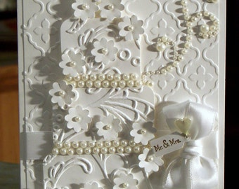 """Handmade Stampin' Up Wedding Card 6 1/4"""" x 4 1/2"""" Lots of Dimension - White on White Embossed Three Tier Cake - Mr. & Mrs. Tiny Tag"""
