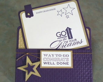 "Handmade Graduation Card using Stampin Up Starring You - 5.5"" x 4.25"" - Gift Card or Money Holder"