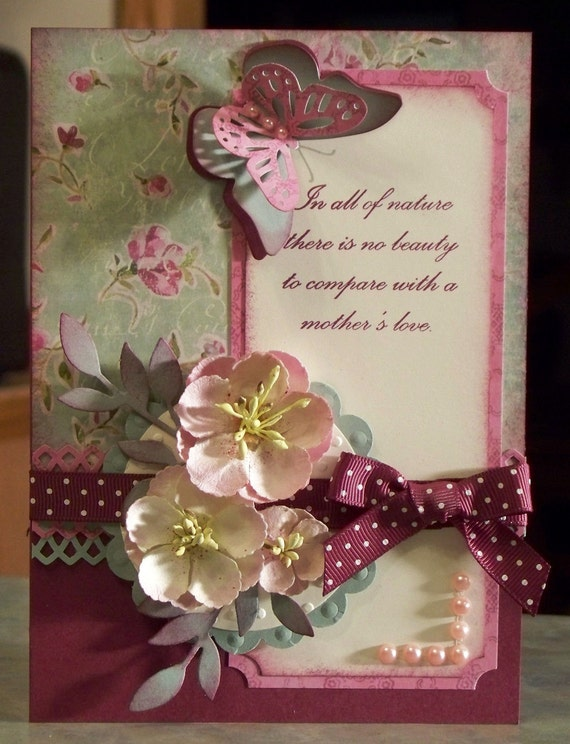 beautiful handmade birthday card or mother's day with