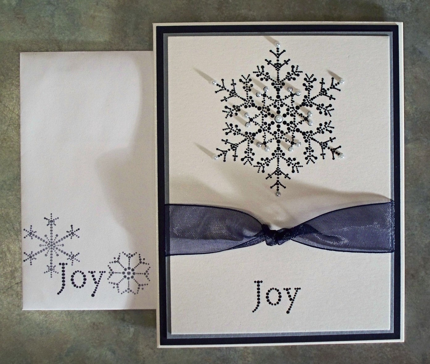 The snowflake spot embossed handmade christmas card using for Christmas cards made