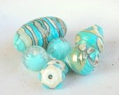 Reserved to Tessa Seaside Lampwork Beads Holiday Fashion Christmas Gift on the Beach Blue Sky
