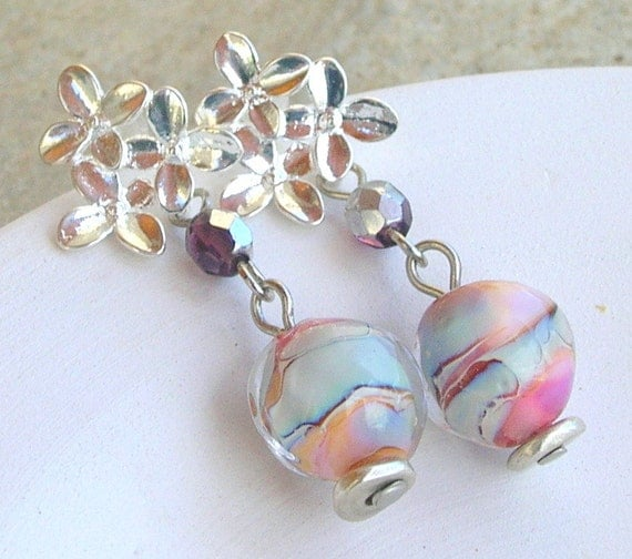 Lampwork Earrings Ice Water Shimmering Winter Fashion Christmas Handmade Jewelry