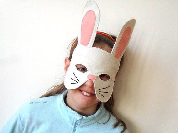 Kids Easter Bunny Rabbit  Mask Children Carnival Dress up Costume Accessory, Boys, Girls, Toddlers Pretend Play Toy
