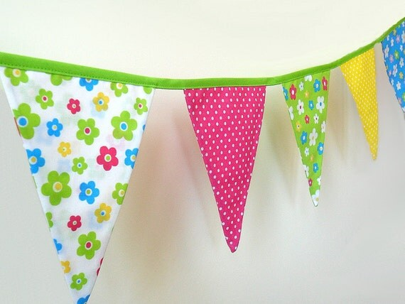 Flower Party Fabric Bunting, Birthday Garland, Girls Room Decoration, Banner, Party Decor, Indoor, Outdoor, Photo Prop - Ready to Ship