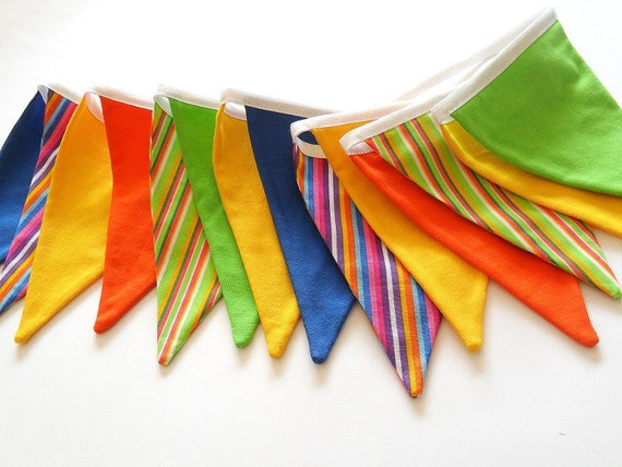 Rainbow Fabric Bunting, Birthday Decoration Party Decor, Banner, BBQ, Garden Party, Colorful Indoor, Outdoor  Photo Props - Ready to Ship