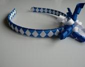 ALL NEW ITEM Ribbon Headband with Korker Bow BLUE\/WHITE