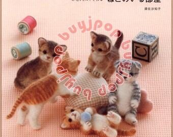 Japanese Craft Pattern Book Wool Felt Kitten CAT in the House