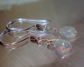 Opal Earrings with Smooth Teardrop Ethiopian Fire Opals and Sterling Silver Shephards Hooks