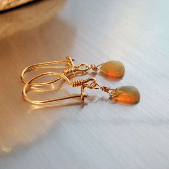 Opal Earrings with Smooth Fiery Teardrop Ethiopian Fire Opals and Gold Filled Ear Wires