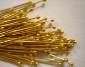 New Size! 50 pieces Bali 24kt Gold Vermeil Ball Headpins, 28 gauge / 25 mm long, Genuine Bali Artisan-made supplies, precious metals