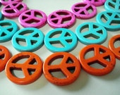 CLEARANCE - Colorful Magnesite Peace Sign Beads (Qty. 8)