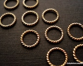 TEN Bali Vermeil Twisted Ring Links, 9mm, Artisan-made jewelry supplies, precious metals, necklace, earrings, bracelet