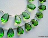 SALE - FABULOUS Spring Green Quartz Cut Stone Briolettes - Matched Pair 10x15