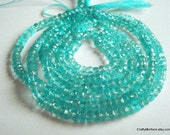 SALE - AAA Aqua Blue Apatite Faceted Rondelles, 3.5mm - 1/4 strand