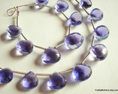 SALE - LOVELY Lilac Quartz Faceted Heart Briolettes - Matched Pair 10.5mm
