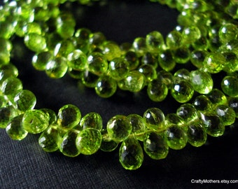 Take 15% off with 15OFF20, Superb AAA Green Peridot Microfaceted Teardrop Briolettes, 6.5-7mm long, Set of 10 pieces, natural