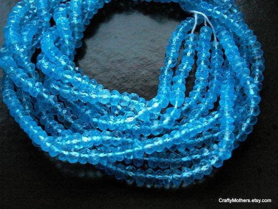 SALE - Swiss Blue Mystic Topaz Faceted Rondelles, 4mm - 1/2 Strand