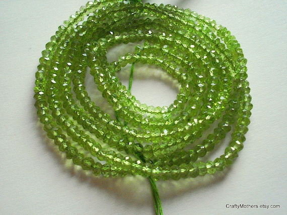 SALE - Green Peridot Microfaceted Rondelles, 4mm - 1/2 Strand