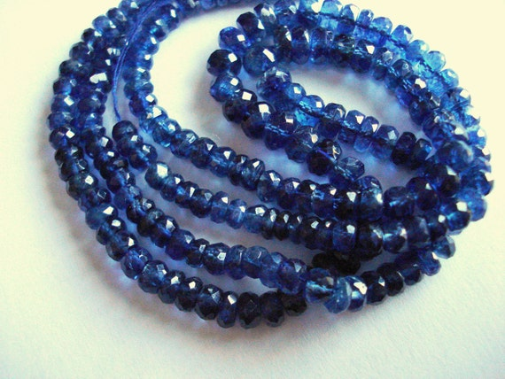 RESERVED for Melinda - STUNNING AAA Grade Blue Kyanite Faceted Rondelles, 3.5-4mm - 30 pieces