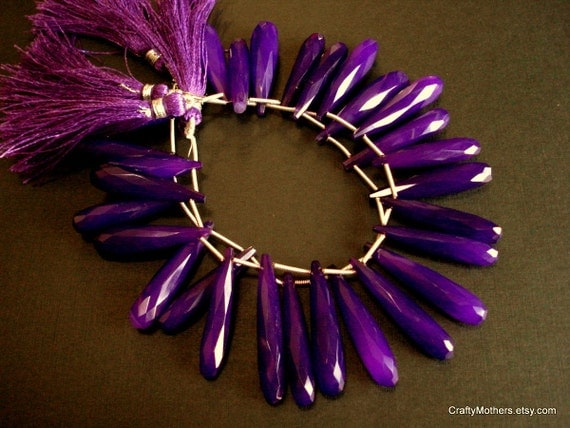 SALE - Red Violet Chalcedony Faceted Elongated Briolettes - (2) Focals