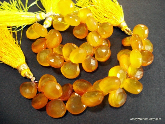 CLEARANCE - Butterscotch Yellow Chalcedony Faceted Heart Briolettes, 11mm - (2) Matched Pairs