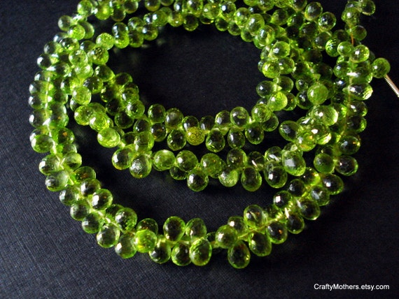 CLEARANCE - GORGEOUS Green Peridot Microfaceted Teardrop Briolettes, 6.5-7mm - Set of 15 - Reg. 11.95