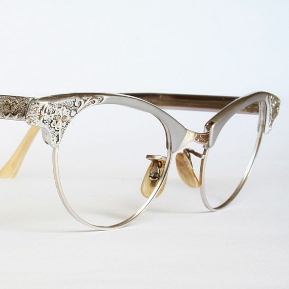 Vintage Silver Eyeglass Frames : Artcraft Aluminum Filigree Cat Eye Glasses Sunglasses Frames