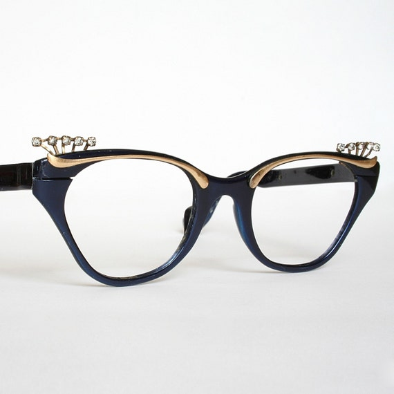 Royal Blue and Gold Cat Eye Glasses Frames with Rhinestones by