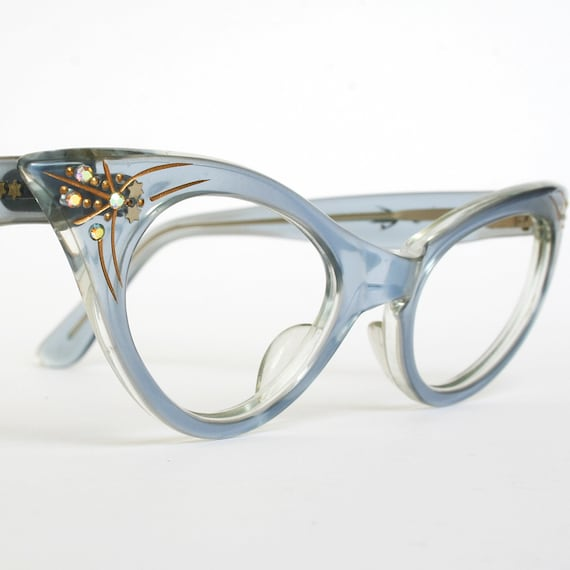 Vintage Cat Eye Glasses Translucent Blue with Rhinestones