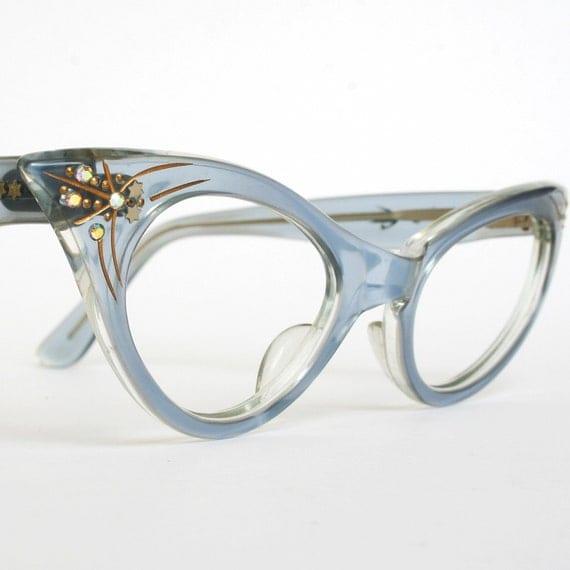 Vintage Cat Eye Glasses Translucent Blue by ...