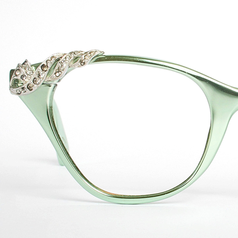 I Green Eyeglass Frames : Vintage Mint Green Tura Cat Eye Glasses