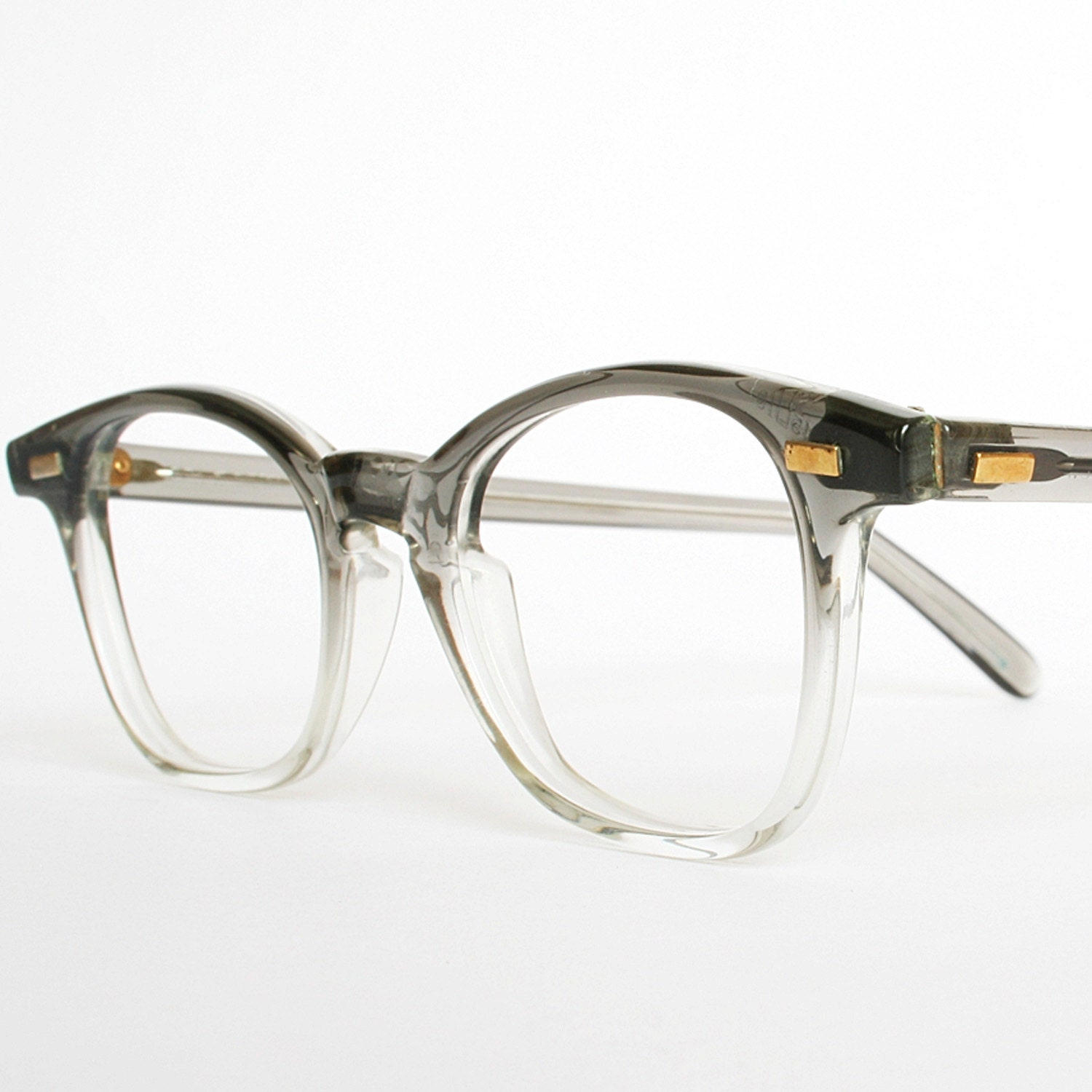 Old Glasses Frames New Lenses : Vintage 50s Mens Grey Fades Eyeglasses New Old Stock