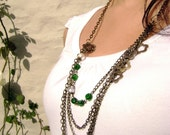 Green Attraction - vintage inspired Antique bronze multiple chains pearls forest green long necklace