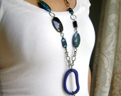 Ocean Blue -  blue finds modern fun everyday long necklace