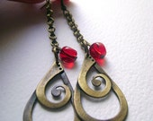 Simple love - cherrie glass unique antique bronze  pendant long earrings