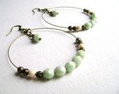 Serene - Seafoam green stardust gold champagne and anttique bronze big earrings
