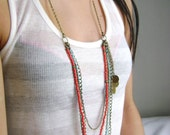 multi layered bohemian style necklace - Indiana - Boho chic long assymetric necklace red turquoise antique bronze chains