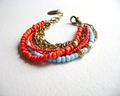 Blunt - Red turquoise bohemian stacking multiple chain bracelet