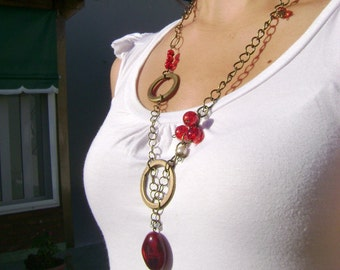 Cherries... antique bronze and deep red long necklace