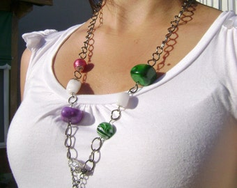 Bohemian Indie style - My Rainbow - Unique design colorful stones long necklace