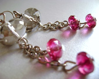 Light my day - clear crystals magenta pink  delicate long earring