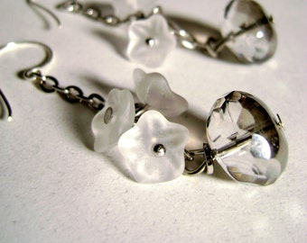 Delicate Clear crystal glass bead matte flowers long earrings -Summer Rain -