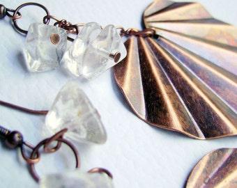 Boho gypsy style Antique cooper heart shape long earrings - Heart you -