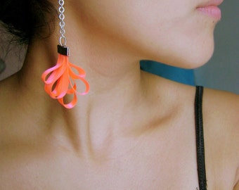 Trendy earrings Neon Pink - Captivates me collection funky trendy spring long earrings