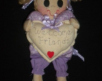 Welcome Friends Doll Wallhanging Wall Art Cloth Doll Art Doll