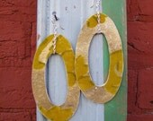 Green and Gold Flocked Oval Earrings - SALE -