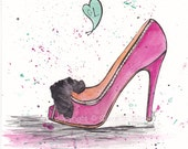 Christian Louboutins - Original watercolor 8x10