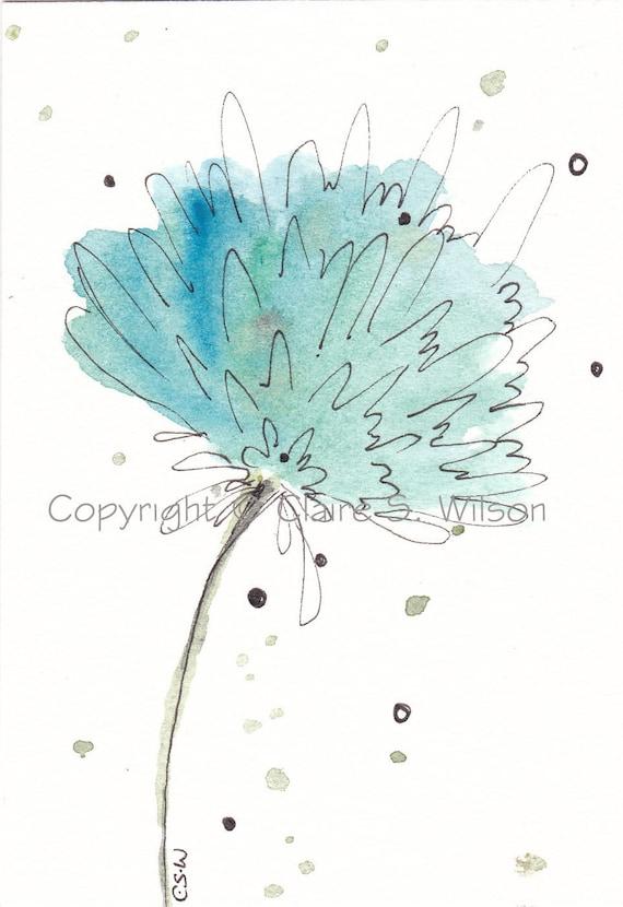 SALE - Blue Lagoon - Original watercolor ACEO