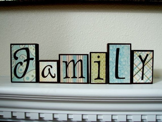 Wood Block Letters ~ Family wood block letters